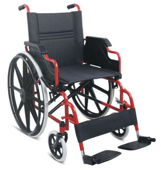 Hospital Medical Equipment Footplate Stainless Steel Manual Aluminum Wheelchair