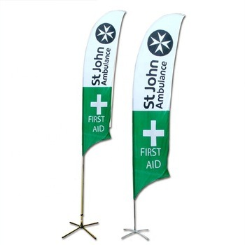 Wholesale Adjustable 110g Knitted Polyester Feather Flag with Base for Shopping Mall