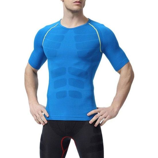 Men O-Neck Tights Fitness Tops Compression Short Sleeve Sport T Shirt