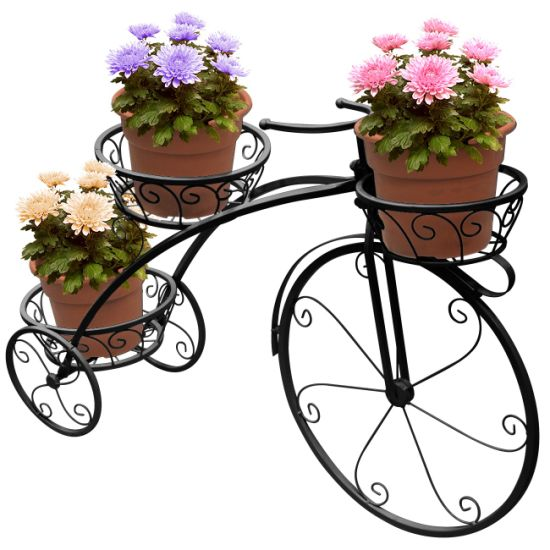 Parisian Style Metal Tricycle Plant Stand Flower Pot Cart Holder