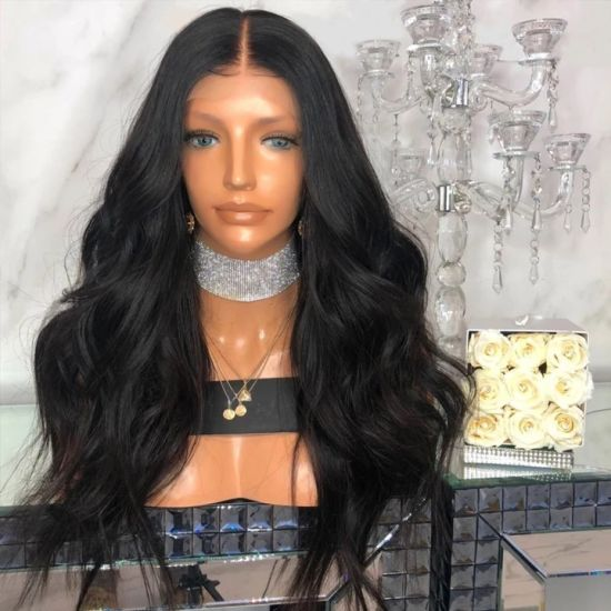 Black Fiber Long Wavy Lace Wowen Synthetic Cosplay Hot Selling Wig with Customized Design pictures & photos