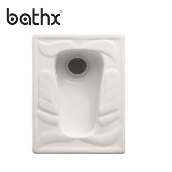 White Color Durable Flush Value High Glaze Technology Squatting Wc Pan (PL-P061)