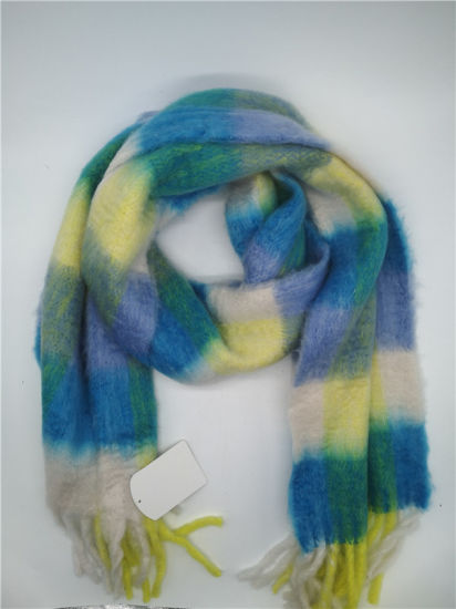 Women′s Colorful Yarn Dye Check Multi Color Heavy Brushed Shawl Scarf pictures & photos
