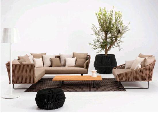 Hot Selling Europe-Style Garden Furniture Rattan Luxury Outdoor Rope Furniture Indoor Sofa Set