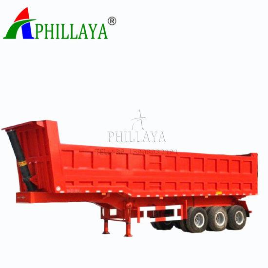 Transport Coal Sand Three Axles Truck Semi Towing Dump Trailer