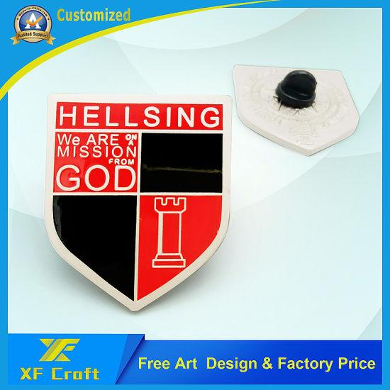 Souvenir Gift Customized Enamel Gold Plated Shield Car Shape Metal Iron Stamping Promotion Marketing Modern Pins Badge Emblem (BG24)