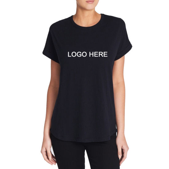 Curved Hemline Rolled Cuffs Women's Lycra T-Shirt with Custom Logo