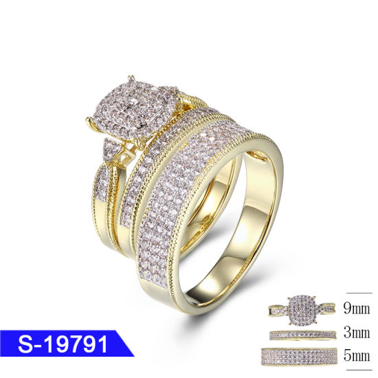 ef15e6197 New Design Fashion Jewelry 925 Sterling Silver 14K Gold Plated Cubic  Zirconia Tro Wedding Ring Set