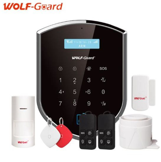 Wolf-Guard WiFi Wireless 433MHz Android Ios APP Remote Control RFID  Security WiFi Burglar GSM Alarm System with Sos Button
