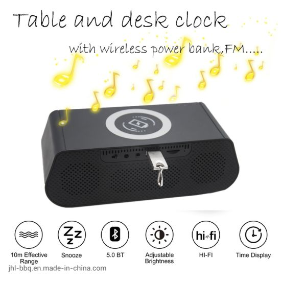 2019 Fashion Desk Clock Combining Blue Tooth Speaker FM Radio Audio Clock Dual Alarm Dual USB Snooze  I Phone and Android Wireless Fast Charging pictures & photos