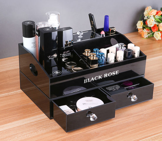 China Countertop Black Acrylic Makeup Jewelry Organizer China
