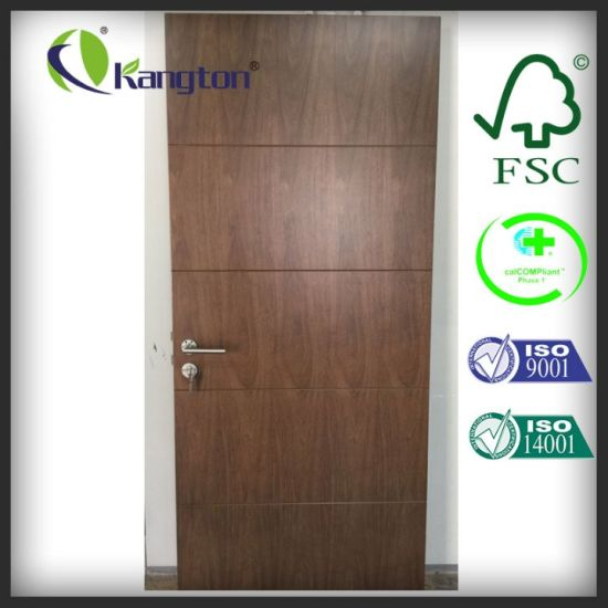 China Commercial Pu Lacquer Black Walnut Fire Rated Wood Door