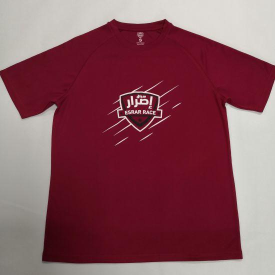 Puff Print Red 100% Poly Mesh Sports Shirts Mens Customized T Shirts