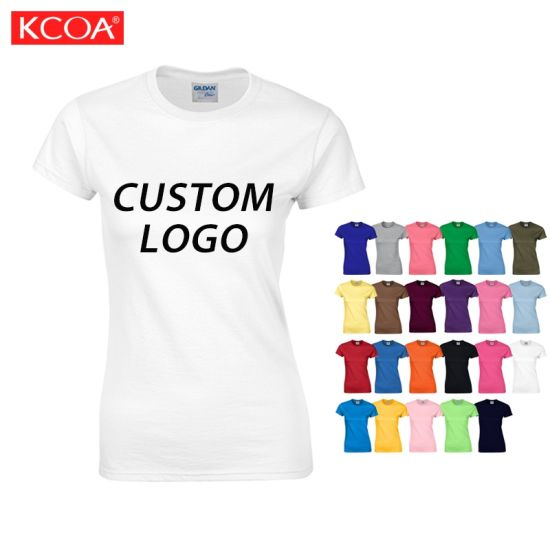 White Round Neck Custom Logo Screen Printing Plain Blank Cotton Women T-Shirt