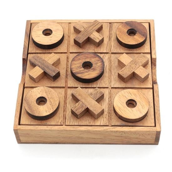 Wood Noughts and Crosss Game Board