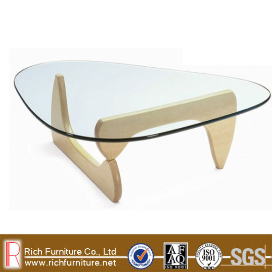 Designer Noguchi Oak Wood Base Glass Top Coffee Table