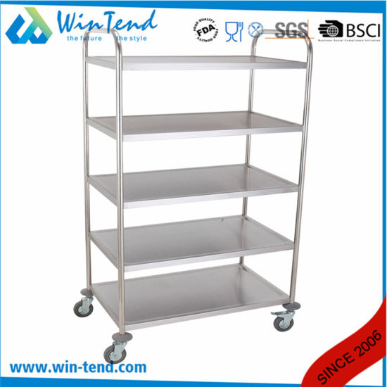Factory Hotel Kitchen Stainless Steel 5 Tiers Food Service Trolley pictures & photos