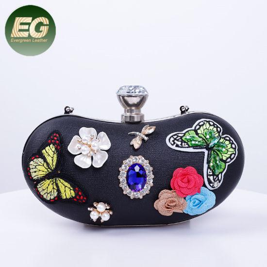 Fashion Flower Elegant Clutch Bags Women Handbags Wedding Purse with Butterfly Eb1036