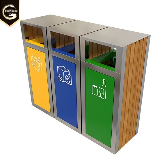 Factory Office School Supermarket Stainless Steel Triple Three Large Trash Can pictures & photos