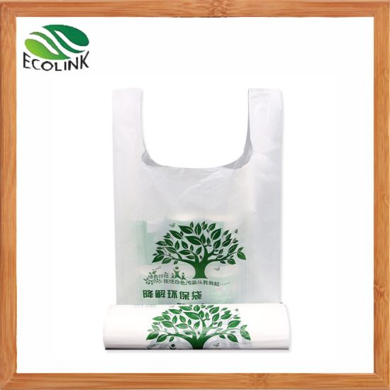 100% Biodegradable Carrier Bag Compostable Cornstarch T-Shirt/Shopping Bag pictures & photos