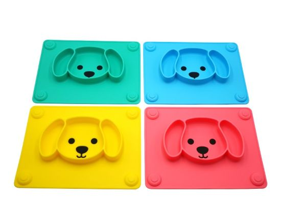 Fancy Item Eco-Friendly LFGB & FDA Certificated safety Silicone Baby Dinner Plate Tray