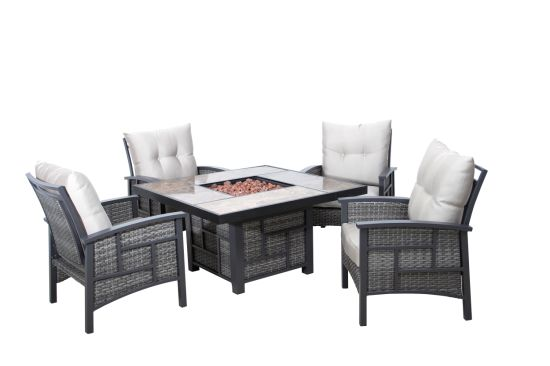 Garden Modern Hotel Fire Pit Table, Grey Rattan Garden Furniture With Fire Pit Table