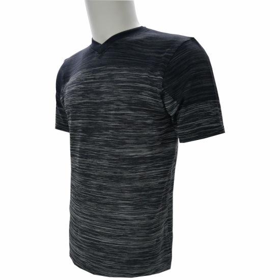 Men's Rib Round Neck Melange Black T Shirt