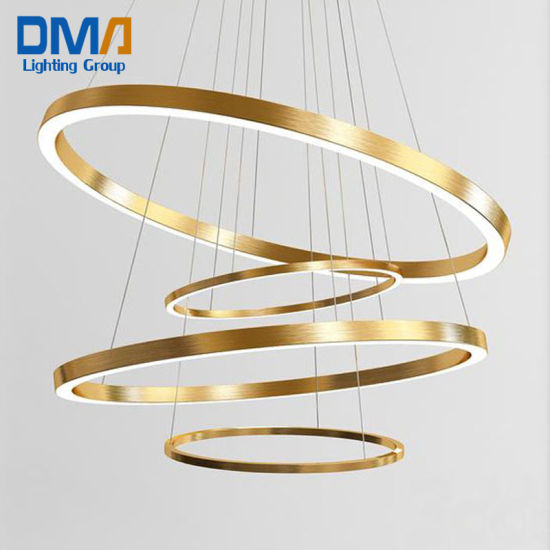 Customized Home Deco Unique Hanging Round Golden Modern LED Acrylic Pendant Chandelier Light