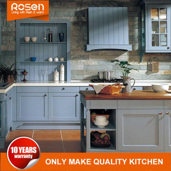 Modern Design Oak Solid Wood Blue Painting Kitchen Cabinet