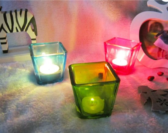 Free Sample Square Tea Light Glass Candle Jar For Home Decor