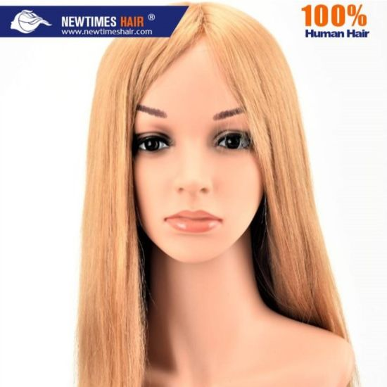 Custom Women′s French Lace, PU and Silk Top Human Hair Wig pictures & photos