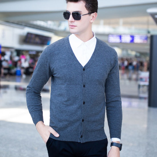 2018 New Man's Wool/Cotton Cardigan Sweater Coat V Neck Colorful for Spring/Fall