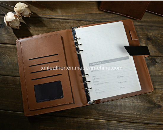 9d5105382480 China Business A5 Leather Cover 6 Ring Binder Notebook - China ...
