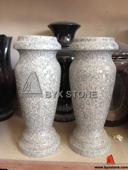 China Grey Granite Stone Cemetery Flower Vase China Granite Vase