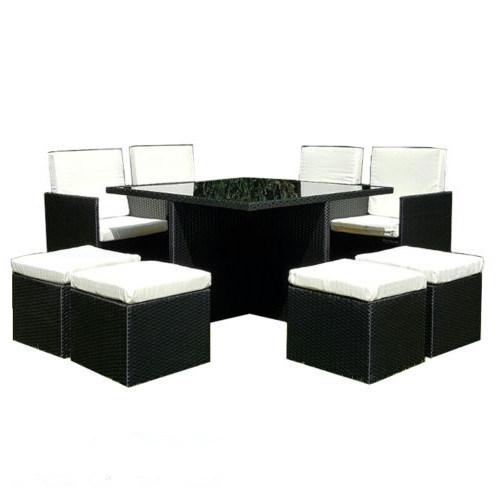 Practical Black PE Rattan Garden Dining Cube Set