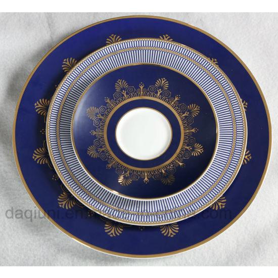Deep Blue High-End 4 Pieces Bone China Dinner Set - Round Bone China ...
