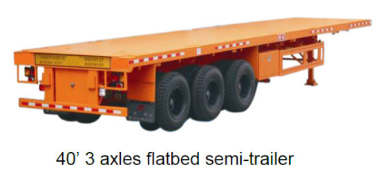 Kingstar 40′ 2 Axles Flatbed Semi-Trailer, Trailer Truck pictures & photos