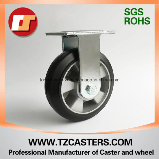 Fixed Caster with Rubber Wheel Aluminum Center
