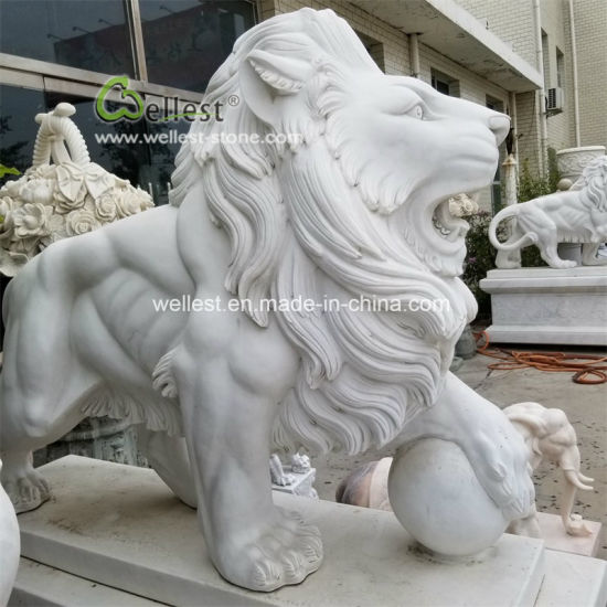 White Marble Stone Animal Statue Lion Carving Sculpture for Garden