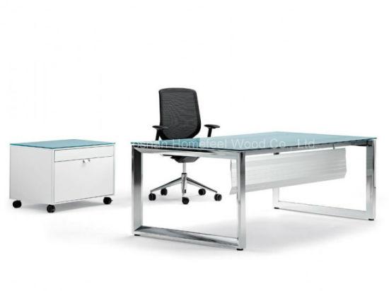 glass top office desk modern. Modern Glass Top Office Desk With Stainless Steel Foot (HF-VP13)