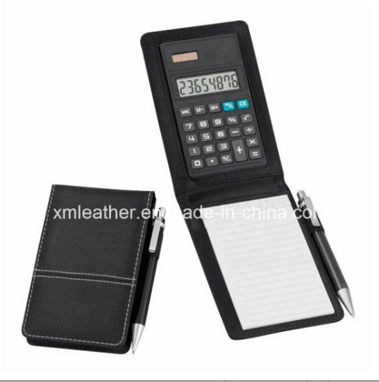 Promotional Imitation Leather Jotter Writing Pad with Calculator