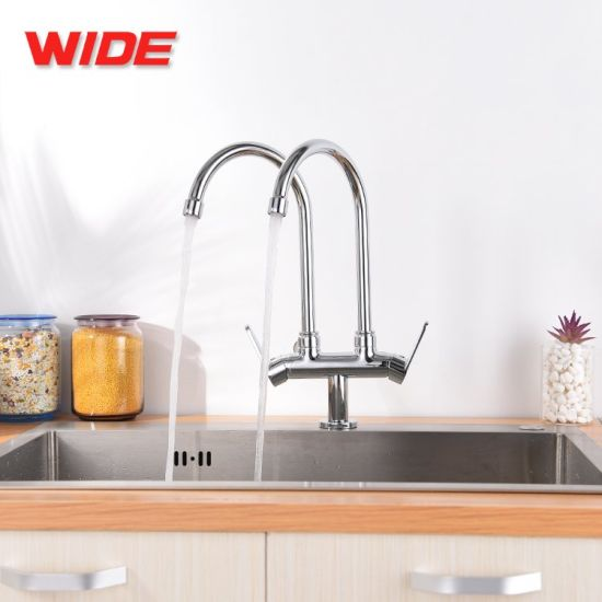 China Stainless Steel Double Bowl Kitchen Sink Water Tap China Kitchen Faucet Faucets