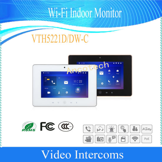 Dahua Security Systtem 7'' Touch Screen Display Wi-Fi Indoor Monitor (VTH5221D-C/VTH5221DW-C)