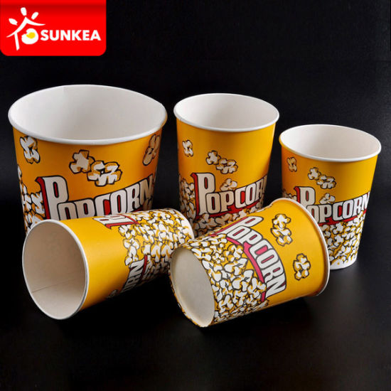 Disposable Custom Logo Printed Yellow Paper Packaging Popcorn Box