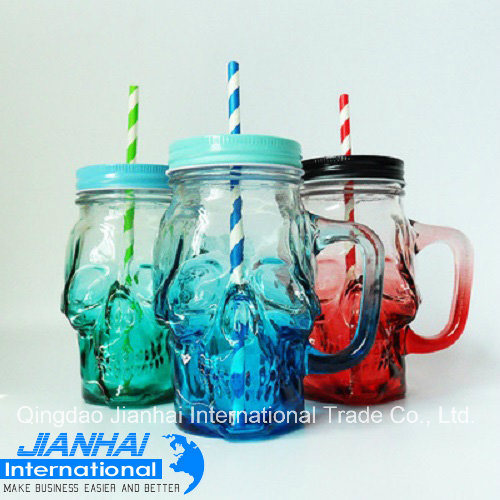 Skull Shaped Glass Mason Jar with Metal Cap pictures & photos