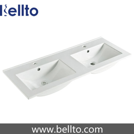 Double Bowl vanity top basin with thin edge (9120ED) pictures & photos