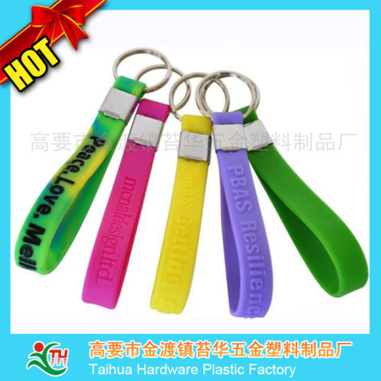 Customized Silicone Wristband with Key Chain (TH-3106) pictures & photos