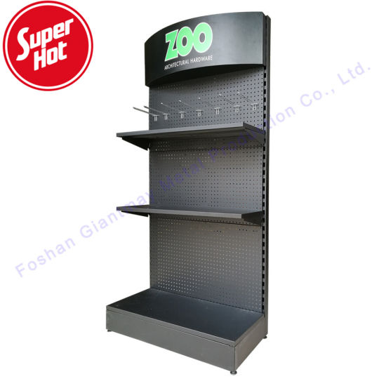 Wholesale Hardware Accessories Exhibition Retail Shop Tools Display Metal Pegboard Floor Stand
