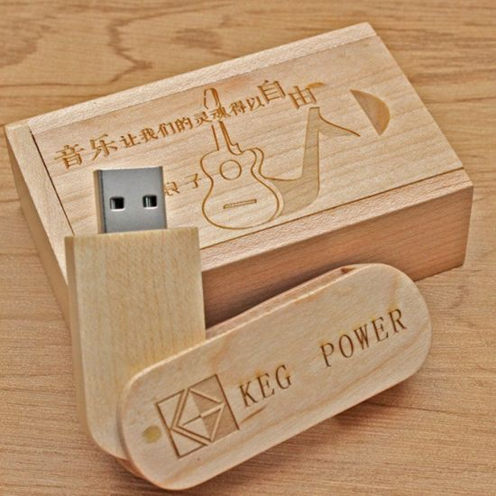 Wedding Photography Gift 8GB Logo Print Swivel Wooden USB Twister Keychain Flash Driver Maple Wood Pen Drive pictures & photos