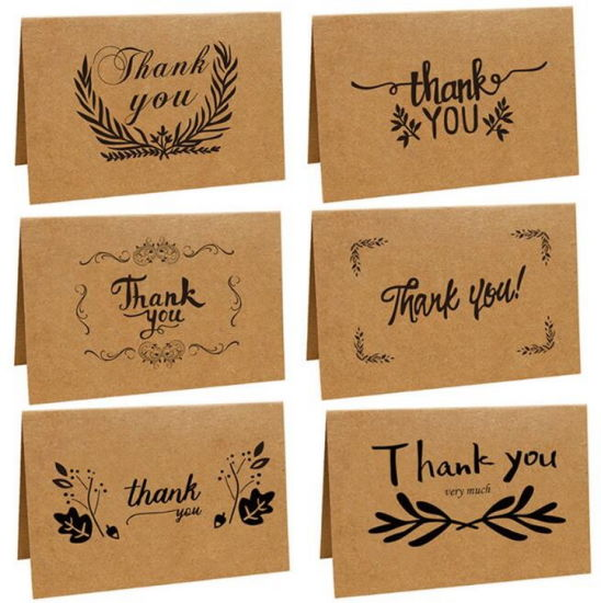 Kraft Paper Multicolor Wholesale Custom Fonts 4X6 Inch Thank You Notes Cards Pack Thanksgiving Cards with Envelope